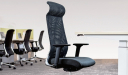 office area with high back office chair in black mesh