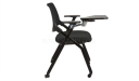 training chair in black mesh, cushioned seat and writing tablet