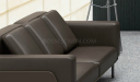 three seater brown leather office sofa close up