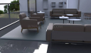 brown leather single seater office sofas in lounge area