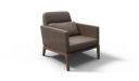 single seater office sofa in brown leather