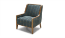 classic arm chair in fabric upholstery and wooden frame