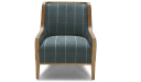 classic lounge chair in fabric upholstery with solid wood frame