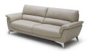 office sofa in beige leather with steel base