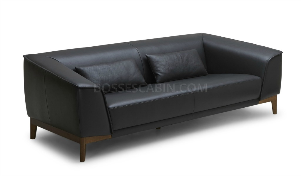 Sirius Two Seater Office Sofa In Black Leather: Boss\'s Cabin