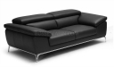 two seater office sofa in black leather with adjustable headrest