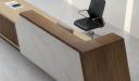 reception table counter with black chair