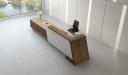 reception table counter in walnut veneer finish