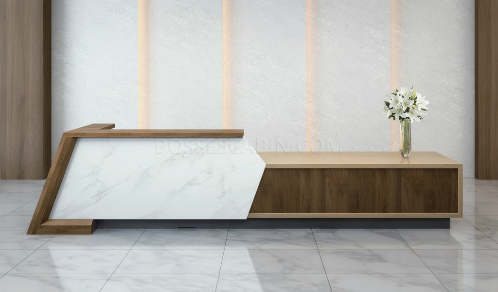 Ikey 12 Feet Reception Desk With Marble Front Boss S Cabin