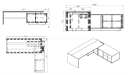 shop drawing of Mary 8.5 feet office table with side cabinet