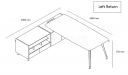 shop drawing of 8 feet office table with side cabinet on the left