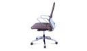 brown leather medium back office chair with steel arms