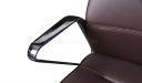 brown leather office chair with stainless steel armrests