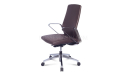 brown leather office chair with steel arms and base