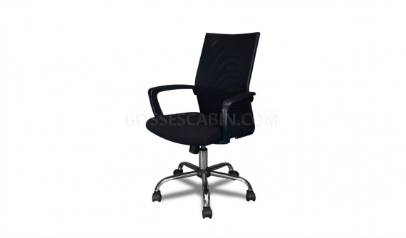 office and computer chair in black mesh back and fabric seat