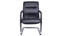 black PU leather visitor chair with sled base