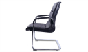 visitor chair in black pu leather and steel sled base