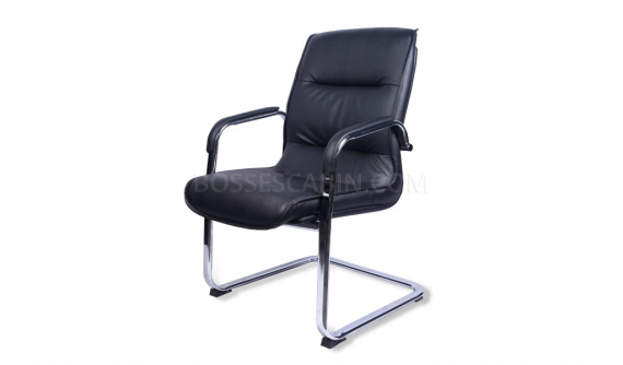 fixed base visitor chair in black leather and steel