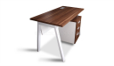 office desk with walnut top and white steel legs
