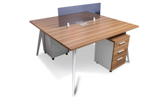two seater workstation with tinted glass partition and mobile pedestal