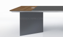 modern meeting table with wood and leather top