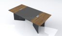 8 seater meeting table with leather and wood top