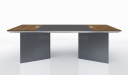 8 feet meeting table with walnut and leather work top