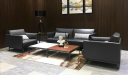 office waiting are with dark gray office sofa in premium leather