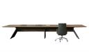 premium boardroom table in walnut veneer and meteor gray base