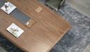 boardroom table in walnut veneer top view