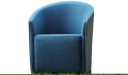 lounge chair in cashmere fabric in blue