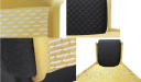 Close up views of Nitze lounge chair in yellow and black fabric