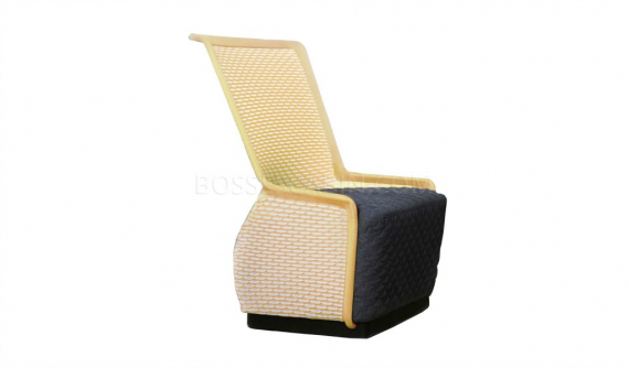 stylish medium back lounge chair in yellow knitted mesh and black cushioned seat