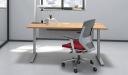 Motorized height adjustable desk inside view