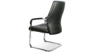 black leather visitors chair with a fixed sled base in steel