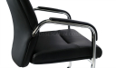 fixed base visitors chair in black leather with padded arms in steel