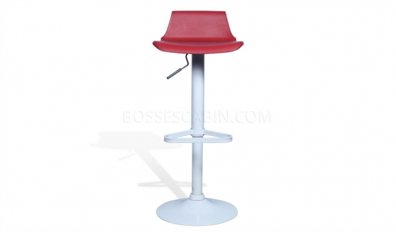 height adjustable bar stool with red seat and white base