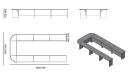 16 feet U shape conference table size diagram