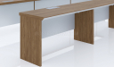 walnut veneer conference table with wirebox