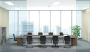 conference room with U shape conference table and nine black chairs