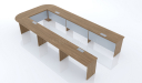 U shaped conference table in walnut veneer finish with four wireboxes