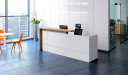 Reception table in white and light oak laminate with chair