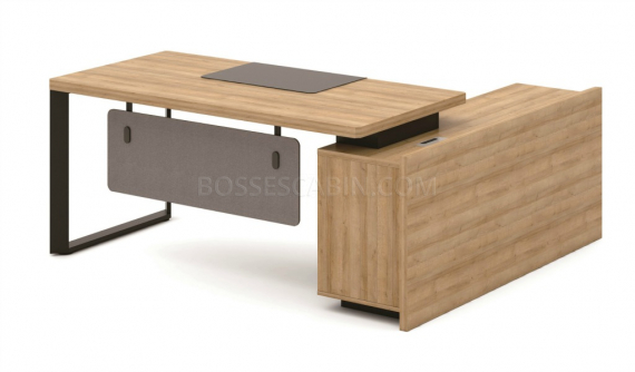 office desk in light wood finish with side cabinet