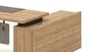 office table with side cabinet in light oak