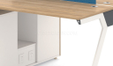 Workstation with light wood desktop