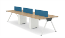 6 seater linear workstations with blue fabric screen