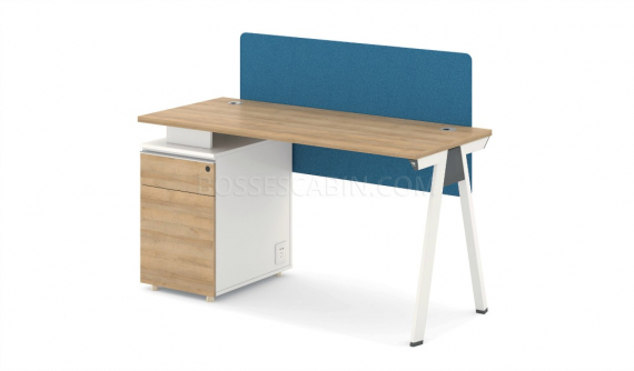 single seater workstation with fabric screen and storage