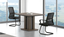 meeting room with square meeting table in dark oak