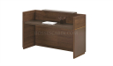 reception table with work top in dark brown natural wood finish