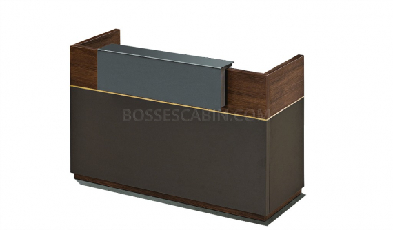 small reception table in walnut and gray laminate